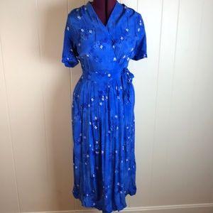 Vintage 80s/90s Deep V Faux Wrap Dress w/ Floral